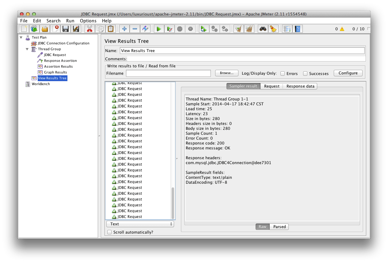Benchmarking MySQL with JMeter