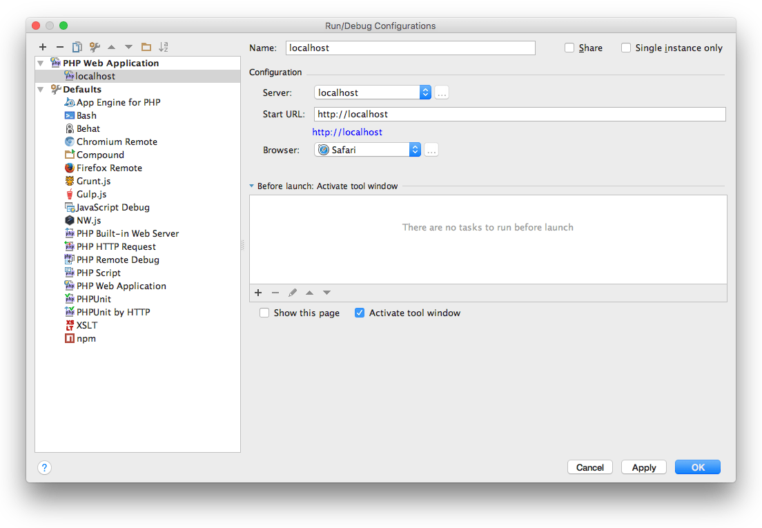 Debugging with Xdebug and PhpStorm on OS X